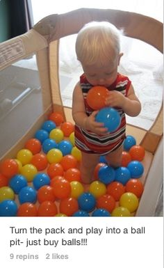 I spotted some fun activities for toddlers and young children on Pinterest today. Since I'm a fairly new GrandmaI'm especially interested in fun DIY playtime ideas for my Grandson. Here's a cute ...