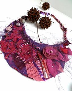 Morning beauty, mixed media fiber wearable art purple necklace. via Etsy.