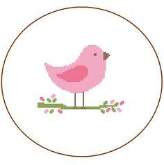 Instant Télécharger mignon rose oiseau Croix par ZindagiDesigns
