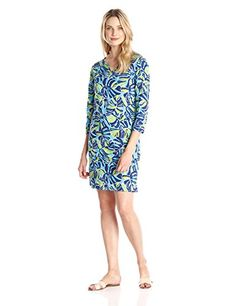 Caribbean Joe Womens Printed Notch Neck Three Quarter Sleeve Dress Electric Blue Large >>> See this great product.