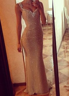 Super Sexy Sequin Embellished Cutout Back Mermaid Dress