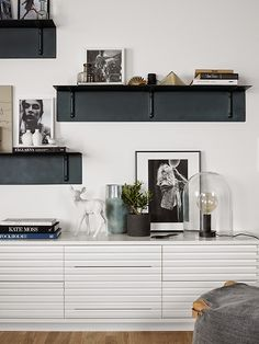 black and white shelf style