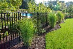 Ornamental Aluminum three rail fence around pool