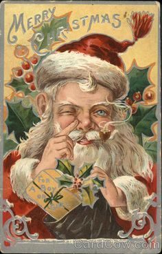 Santa Claus with Finger to Nose~Holly~Antique Gold Emboss Christmas Vintage Christmas Images, Christmas Past, Victorian Christmas, Father Christmas, Vintage Holiday, Christmas Pictures, Christmas Mantles, Silver Christmas, Christmas Quotes