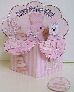 3D New Baby Girl Diagonal Rubber Band Pop Up Box Card