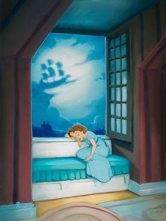 Peter Pan - Dreams of Neverland - Wendy - Original by Rob Kaz presented by World Wide Art Walt Disney, Disney Nerd, Disney Girls, Disney Love, Disney Magic, Disney Stuff, Disney And Dreamworks, Disney Pixar, Handy Wallpaper