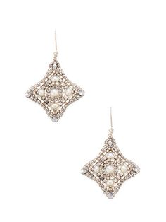 Miguel Ases Square Dangle Pearl Drop Earrings