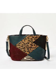 Checkout this Green patchwork leather tote bag from River Island