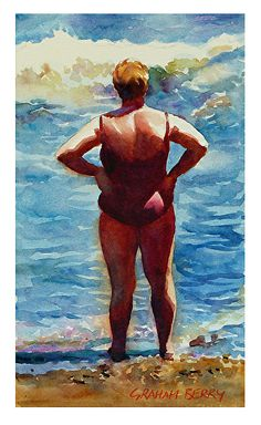 """Woman looking out to sea by Graham Berry Watercolor ~ 12"""" x 7"""""""