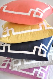 Border pillows. White trim is ribbon
