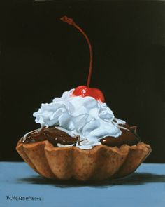 With a Cherry on Top, 10 x oil on board I wanted to create a fairly simple painting and so I chose another Chocolate Tart image. Who can resist chocolate with whipped cream and a cherry on. Valentines Day Drawing, Dessert Illustration, Zentangle, Chibi Food, Food Painting, Cherry On Top, Food Drawing, Good Enough To Eat, Food Illustrations