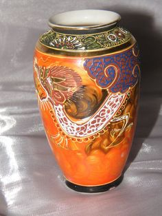 Hand Painted Chinese Vase With Dragon Design