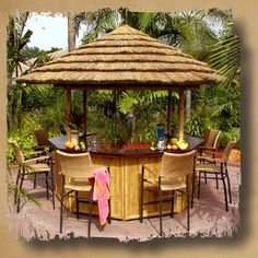 Oasis Tiki Bar - Made of beautiful rosewood countertops and bamboo plywood facades which are perfect for your home, garden, patio and other outdoor settings. Visit this page now and grab one of the Oasis Tiki Bar. Outdoor Tiki Bar, Outdoor Decor, Outdoor Bars, Bars Tiki, Gazebo, Outside Bars, Backyard Bar, Patio Bar, Backyard Ideas