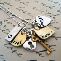 Hand Stamped Charm Necklace - Pieces of Me - Personalized Jewelry - Hand Stamped Jewelry on Etsy, $47.00
