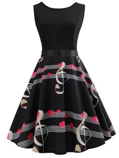 Music Print Sleeveless A Line Dress - Black - 4L89614414 - Women's Clothing, Dresses  #Dresses #Women's #Clothing # #Dresses