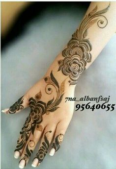 Henna Design By Fatima Traditional Henna Designs, Modern Henna Designs, Rose Mehndi Designs, Khafif Mehndi Design, Latest Henna Designs, Finger Henna Designs, Arabic Henna Designs, Mehndi Designs For Girls, Dulhan Mehndi Designs