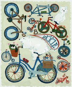 More bike art for the bike nursery.  Love the polar bears.