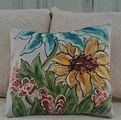 Spring Pillows, Outdoor/Indoor Accent Pillows, Decorative Pillows,  Turquoise Flower, Sunflower