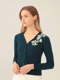 Nice Things gilet petrol bloemen print knit cardigan vest green blue floral print Hebbeding