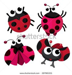 Four cute cartoon ladybirds or ladybugs vector stock illustration.