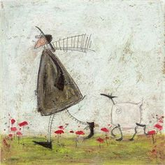 Sam Toft -- WALKING THE SHEEPSTER - CANVAS PRINT Favourite things beginning with M: Mr M: Maltesers Audrey H: Mr M