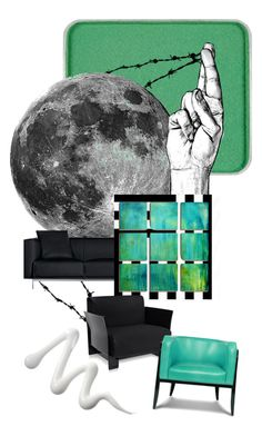 New green moon by teafortee on Polyvore featuring polyvore, interior, interiors, interior design, home, home decor, interior decorating, Kartell, Thrive, Matthew Hilton, West Elm, shu uemura and Barbed