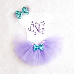 Purple Aqua 1st Birthday Outfit One by KennedyClairesCloset