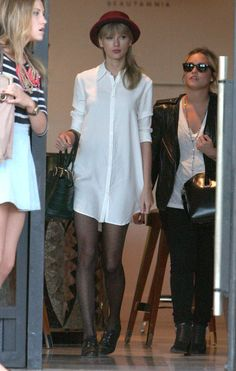 "And this one. Taylor is leaving a store looking ""renewed."" No one is happy after shopping all day. Shopping is exhausting. 