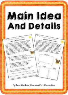Main Idea and Supporting Details These passages are designed to help students become confident identifying the main idea of a text and understanding how details support the main idea. This file includes 10 passages. Each passage is presented twice. Reading Resources, Reading Strategies, Reading Skills, Guided Reading, Teaching Reading, Reading Charts, Reading Intervention, 2nd Grade Ela, Third Grade Reading