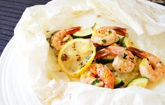 Prawns baked in parchment/baking paper