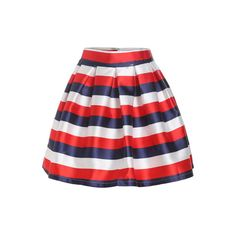 With Zipper Striped Flare Skirt (190 ARS) ❤ liked on Polyvore