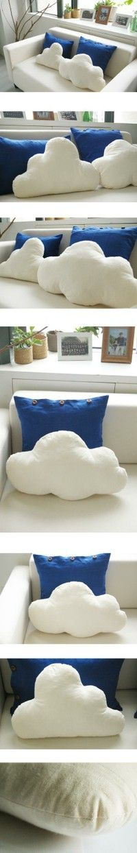 Cloud cushions - pinning this for inspiration - could do rainbows, clouds, raindrops, lightening!  Would make the coolest couch!