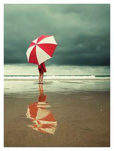 A great beach umbrella for rain or shine