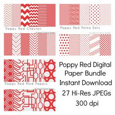 Digital Paper Pack Bundle: Poppy Red Chevron, Polka Dots, and Mod Digital Papers- INSTANT DOWNLOAD- #digitalpapers #buyhandmade