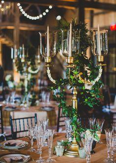 Candelabra centerpiece | A Romantic Secret Garden Inspired Wedding