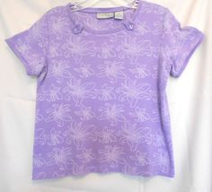 Coral Bay PS Lavender Top with White Floral Stitching Scoop Neck Tabs Cotton #CoralBay #KnitTop #Career