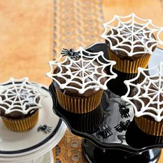 Itsy Bitsy Spiderwebs Cupcake Recipe - Halloween Spider Web Cupcakes - Country Living