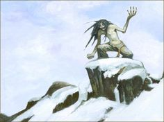 Mahaha is a maniacal demon that terrorized parts of the arctic.  This creature is described as a thin sinewy being, ice blue in colour and cold to the touch.  Mahaha's eyes are white and they peer through the long stringy hair that hangs in its face. This demon is always smiling and giggling. It is strong, very strong and it is always barefoot. Mahaha is usually seen with almost no clothing on yet it never seems to be bothered by the cold. This cold demon takes pleasure in tickling its…