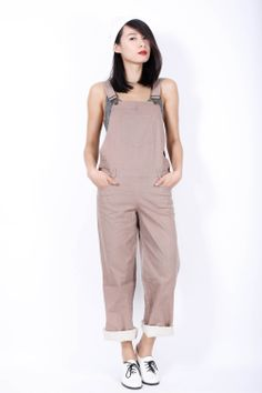 Beige vintage overalls / dungarees Available at www.EzzentricTopz.com
