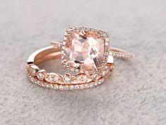 3pc 9mm Morganite Engagement ring set,Rose gold,Diamond wedding band,14k,Cushion Cut,Gemstone Promise Bridal Ring,8 Prong,art deco antique