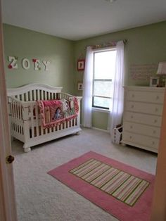 Green and Pink Pooh Bear Nursery: We are expecting our very first baby girl to arrive on 10/5/11 and I wanted to create the most perfect nursery for her, made out of nothing but pure LOVE!