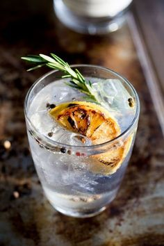 Charred Lemon Rosemary Gin and Tonic with a rosemary and lemon garnish. Fragrant Gin Cocktail Recipes and Inspiration For Karen Gilbert Cocktail Ginger Ale, Cocktail Fruit, Cocktail Recipes, Gin Recipes, Cocktail Shots, Free Recipes, Fall Cocktails, Vodka Cocktails, Summer Drinks