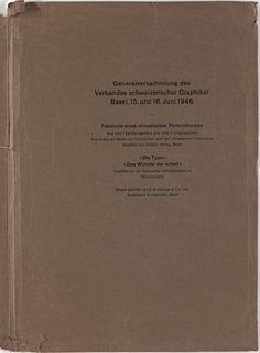 Jan Tschichold. Generalversammlung des Verbandes schweizerischer Graphiker Basel, 15. und 16. Juni 1946. 1946
