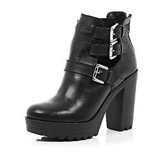 Black leather chunky buckle cut out boots £70.00