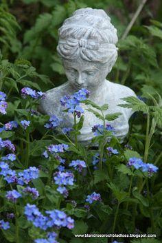 Pretty blue flowers w/ garden bust Blue Garden, Dream Garden, Little Flowers, Blue Flowers, Garden Statues, Garden Sculpture, Beautiful Gardens, Beautiful Flowers, Spray Paint Flowers
