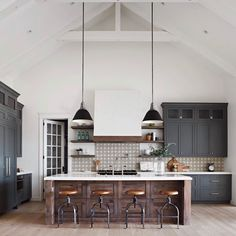 """Vivir Design on Instagram: """"Oh how we love this @_rafterhouse_ kitchen. Contrast, texture, scale, and pattern. Purely Perfection. [Photo: @roehnerryan . . . . .…"""" Kitchen Inspirations, Home Decor Kitchen, House Design, Home, Kitchen Remodel, Kitchen Decor, Industrial Kitchen Design, Home Kitchens, Modern Farmhouse Kitchens"""