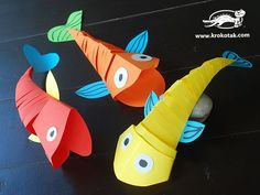 Moving Paper Fish - would be great to use as mammals with the up-down swimming motion.