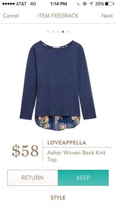 Stitch Fix: Asher Woven Back Knit Top - love this style and the  colors are really pretty
