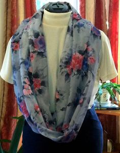 Rose/Floral,Pink,Purple,Gray Infinity Scarf -Made in the USA