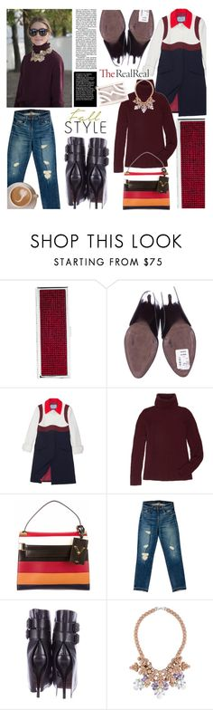 """Fall Style With The RealReal: Contest Entry"" by cherry1987 ❤ liked on Polyvore featuring Judith Leiber, Prada, The Row, Valentino, J Brand, Ek Thongprasert and Salvatore Ferragamo"
